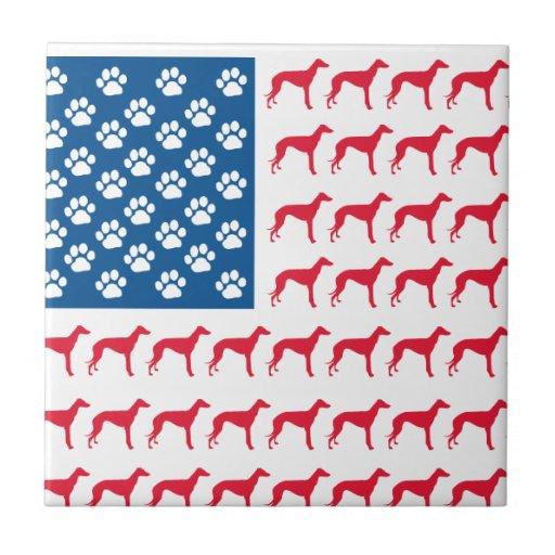 Patriotic Greyhound Dog Tile