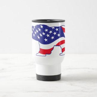 Patriotic Grizzly Bear Travel Mug