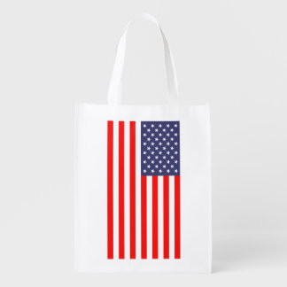 Patriotic grocery shopping bag with American flag Market Tote