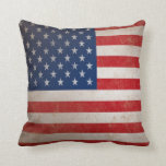Patriotic Grunge American Flag Pillow