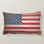 Patriotic Grunge American Flag Throw Pillow