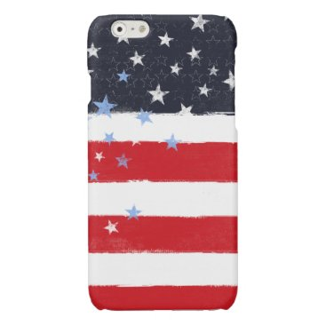 USA Themed Patriotic Grunge Stars and Stripes Glossy iPhone 6 Case