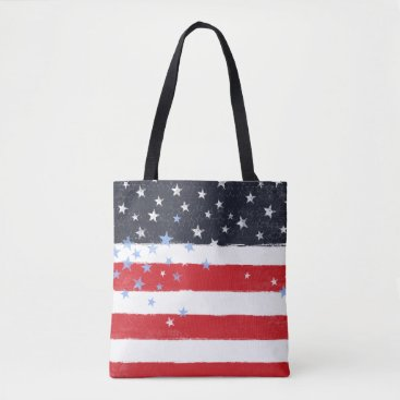 USA Themed Patriotic Grunge Stars and Stripes Tote Bag