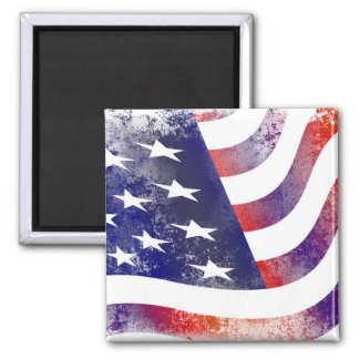 Patriotic Grunge Style Faded American Flag 2 Inch Square Magnet