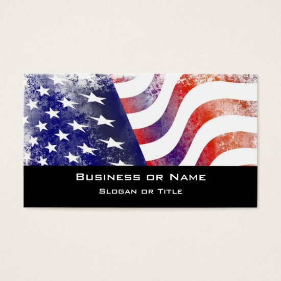Patriotic Grunge Style Faded American Flag Business Card