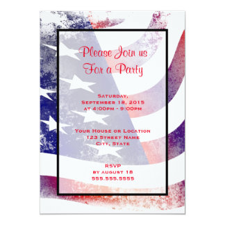 Patriotic Grunge Style Faded American Flag 5x7 Paper Invitation Card