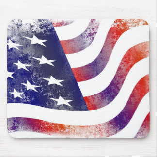 Patriotic Grunge Style Faded American Flag Mouse Pad