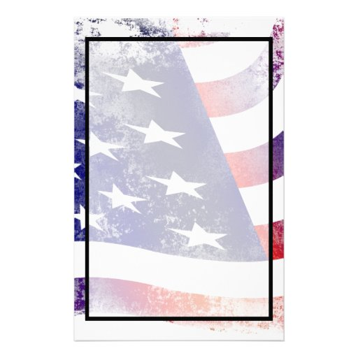 patriotic grunge style faded american flag stationery