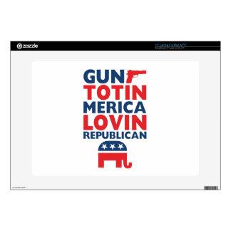 "Patriotic - Gun Totin', 'Merica Lovin' Republican 15"" Laptop Skin"
