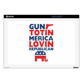 """Patriotic - Gun Totin', 'Merica Lovin' Republican Decals For 17"""" Laptops"""