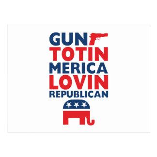 Patriotic - Gun Totin', 'Merica Lovin' Republican Postcard