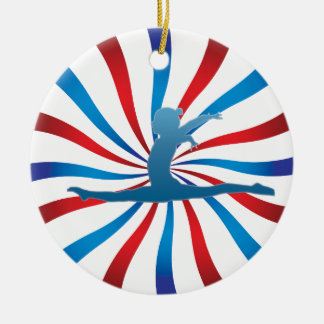 Patriotic Gymnastics Gifts Double-Sided Ceramic Round Christmas Ornament