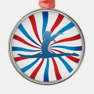 Patriotic Gymnastics Gifts Round Metal Christmas Ornament