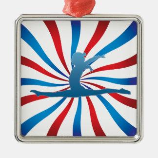 Patriotic Gymnastics Gifts Square Metal Christmas Ornament