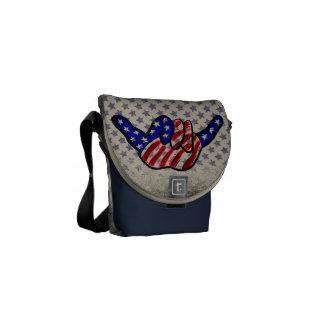 Patriotic hang loose blue stars mini messenger bag
