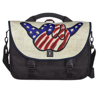 Patriotic hang loose shaka star stripes laptop bag