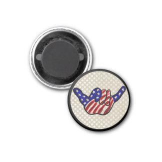 Patriotic hang loose shaka stars stripes magnet