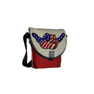 Patriotic hang loose stars stripes mini mess bag courier bag