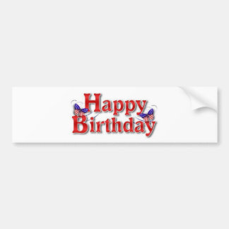 Patriotic Happy Birthday with butterflies Bumper Sticker