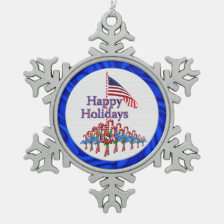 Patriotic Happy Holidays Candy Canes Snowflake Pewter Christmas Ornament
