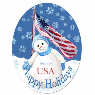 Patriotic Happy Holidays Snowman Ornament