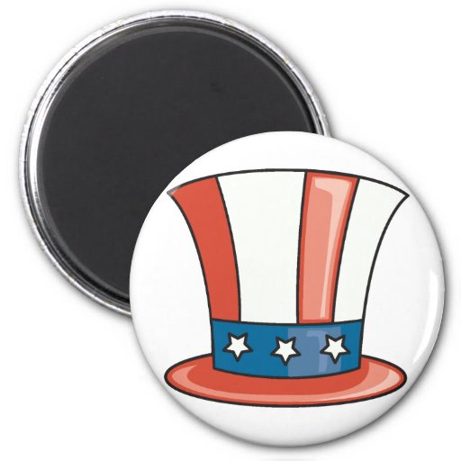 Patriotic Hat 2 Inch Round Magnet