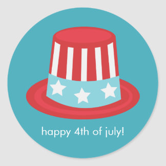 Patriotic Hat 4th of July Celebration Classic Round Sticker