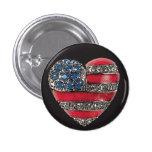 Patriotic Heart ~ Button American Flag America