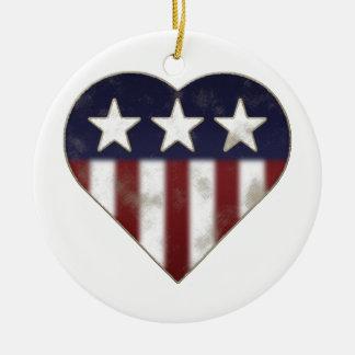 Patriotic Heart Ceramic Ornament