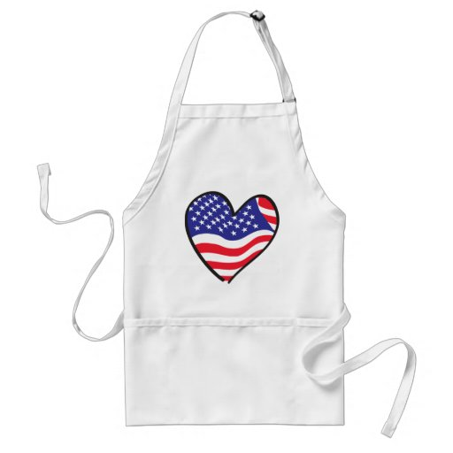 Patriotic Heart Design Adult Apron