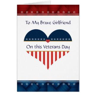 Patriotic Heart Girlfriend Veterans Day Card