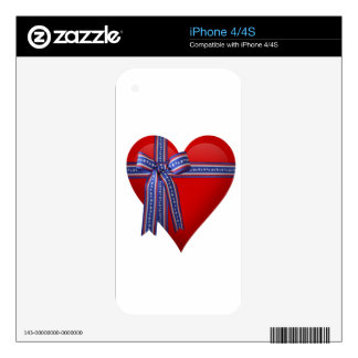 Patriotic Heart graphic Decals For The iPhone 4S