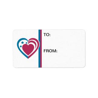 Patriotic Heart Custom Address Label