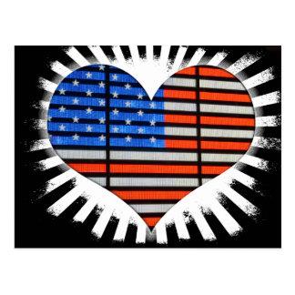 Patriotic Heart Shaped American Flag Neon Postcard