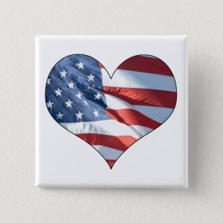 Patriotic Heart Shaped American Flag Pinback Button