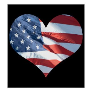 Patriotic Heart Shaped American Flag Poster