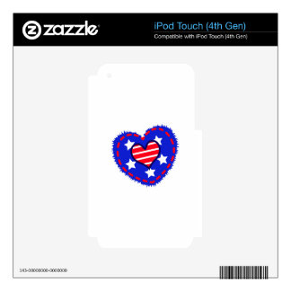 PATRIOTIC HEART DECAL FOR iPod TOUCH 4G