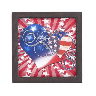 PATRIOTIC HEART STARBURST 4TH OF JULY PREMIUM JEWELRY BOXES