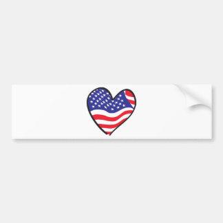 Patriotic Heart - USA Flag Bumper Sticker