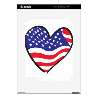 Patriotic Heart - USA Flag Decal For iPad 2