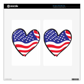 Patriotic Heart - USA Flag Decals For Kindle Fire