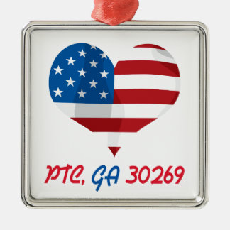 Patriotic Heart with PTC, GA Square Metal Christmas Ornament