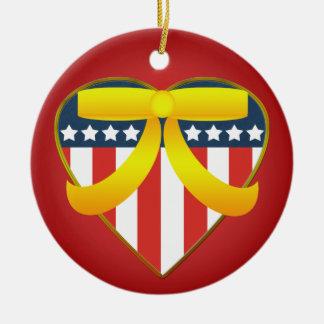 Patriotic Heart Yellow Ribbon Custom Ornament