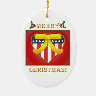 Patriotic Heart  Yellow Ribbon Round Ornament