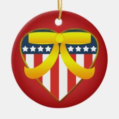 Patriotic Heart  Yellow Ribbon Round Ornament at Zazzle