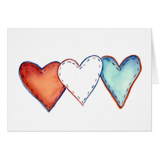 Patriotic Hearts Card