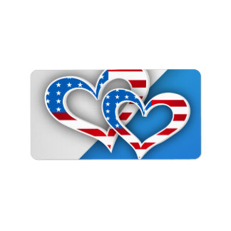Patriotic Hearts Personalized Address Labels