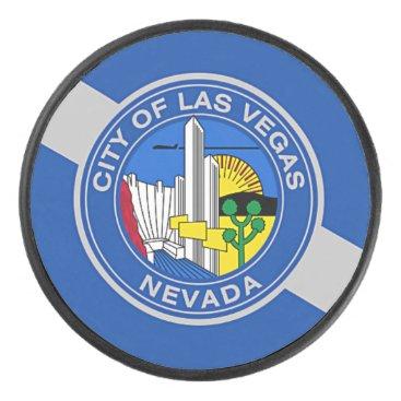 Patriotic hockey puck with flag of Las Vegas.