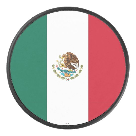 Patriotic hockey puck with Mexico flag