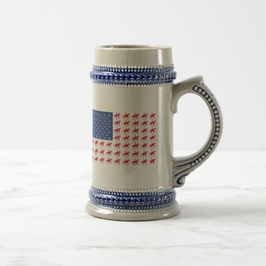 Patriotic Horse and Rider American Flag Beer Stein